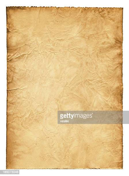 ancient wrinkled paper xxxl - parchment stock pictures, royalty-free photos & images