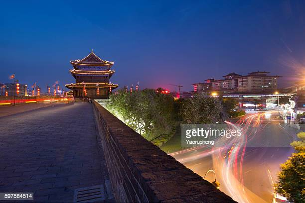 Ancient Xian city wall  and modern transportation,west China