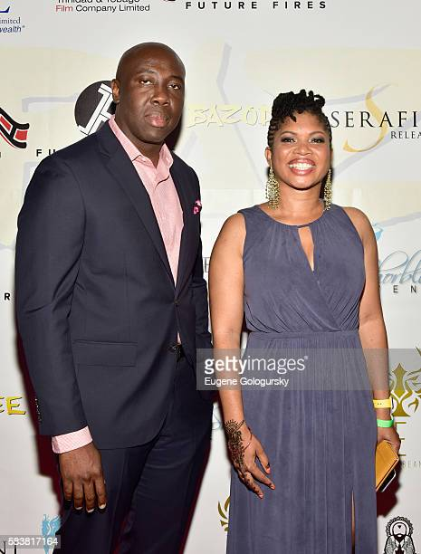 Ancil McKain and screenwriter Claire Ince attend Bazodee premiere and concert featuring Machel Montano and friends at PlayStation Theater on July 27...
