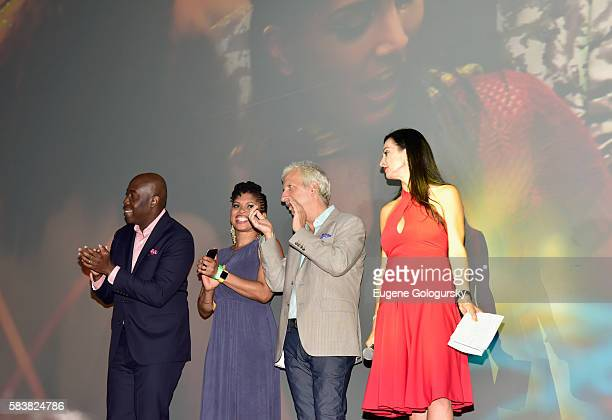 Ancil McKain Claire Ince Todd Kessler and Susanne Bohnet speak onstage during Bazodee premiere and concert featuring Machel Montano and friends at...