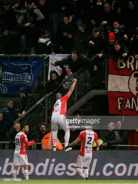 Anco Jansen of FC Emmen celebrates 2-0 with supporters during the Dutch Eredivisie match between FC Emmen v Fc Twente at the De JENS Vesting on...