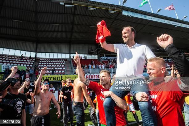 Anco Jansen of FC Emmen coach Dick Lukkien of FC Emme goalkeeper Dennis Telgenkamp of FC Emmen during the Dutch Jupiler League playoffs final match...