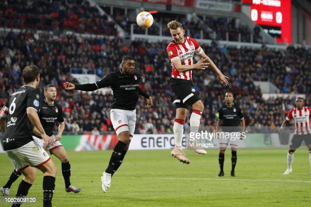 Anco Jansen of FC Emmen Keziah Veendorp of FC Emmen Jafar Arias of FC Emmen Luuk de Jong of PSV during the Dutch Eredivisie match between PSV...