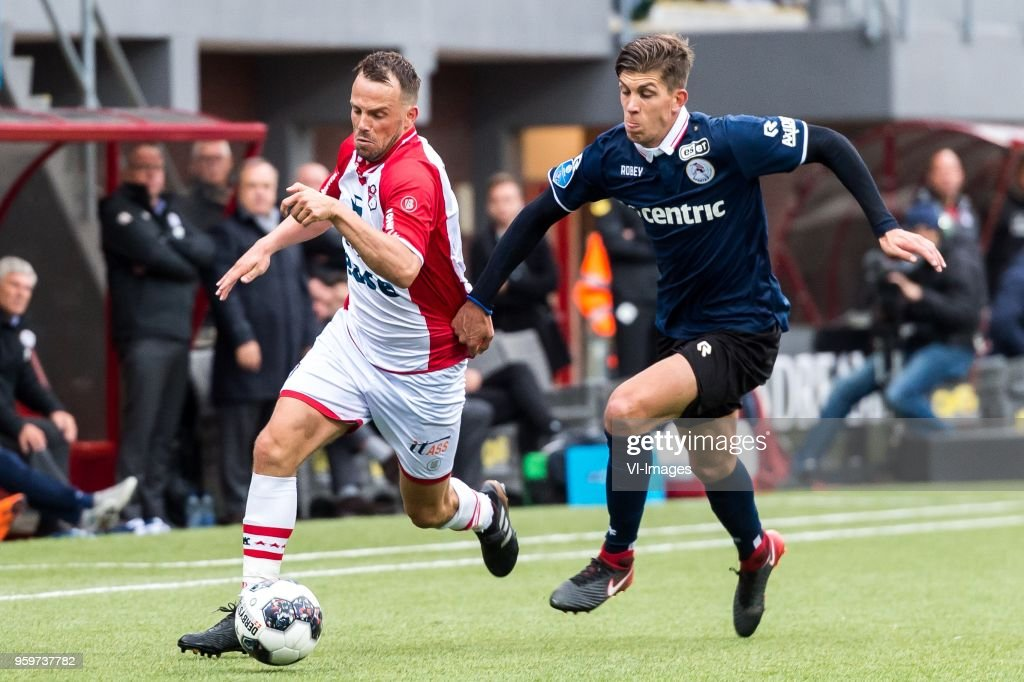 Anco Jansen of FC Emmen, Stijn Spierings of Sparta Rotterdam during the Dutch Jupiler League play-offs final match between FC Emmen and Sparta Rotterdam at the JenS Vesting on May 17, 2018 in Emmen, The Netherlands