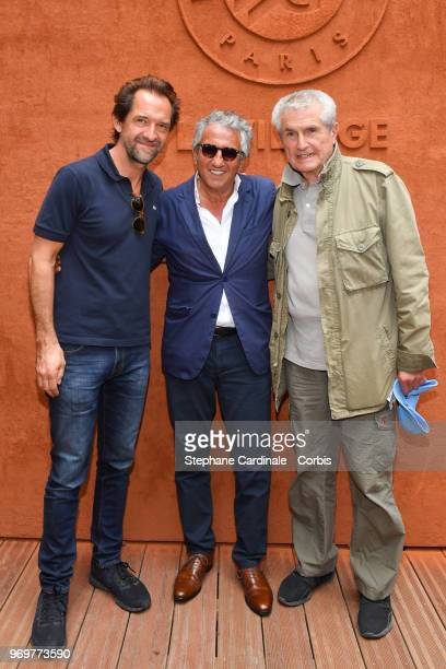 Anctors Stephane De Groodt Richard Anconina and Director Claude Lelouch attends the 2018 French Open Day Thirteen at Roland Garros on June 8 2018 in...
