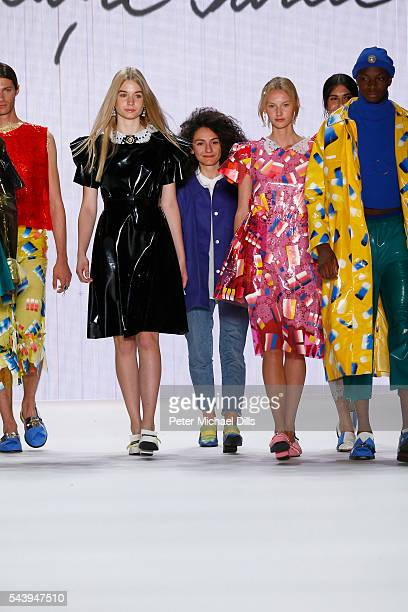 Ancuta Sarca and models acknowledge the applause of the audience after the fashion talent award 'Designer for Tomorrow' by Peek Cloppenburg and...
