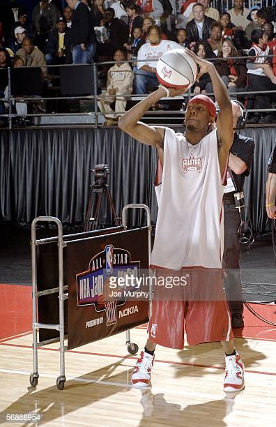 And 1 Streetballer Hot Sauce participates in the Celebrity Shootout at NBA Jam Session presented by Nokia on Center Court during the 2006 NBA AllStar...