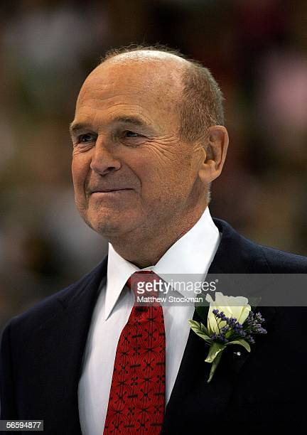 And 1952 U.S. Olympic Figure Skating gold medalist, Dick Button, smiles as he is honored at the 2006 State Farm U.S. Figure Championships at the...