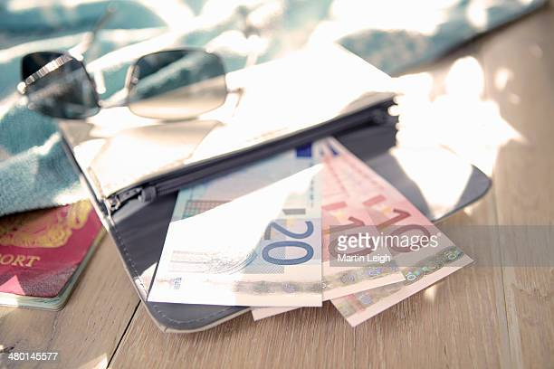 10 and 20euro notes fanned out in wallet