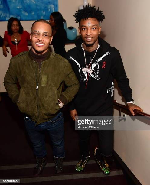 I and 21 Savage attend a Grand Hustle Dinner for Trae tha Truth at the Oceanaire on February 4 2017 in Houston Texas