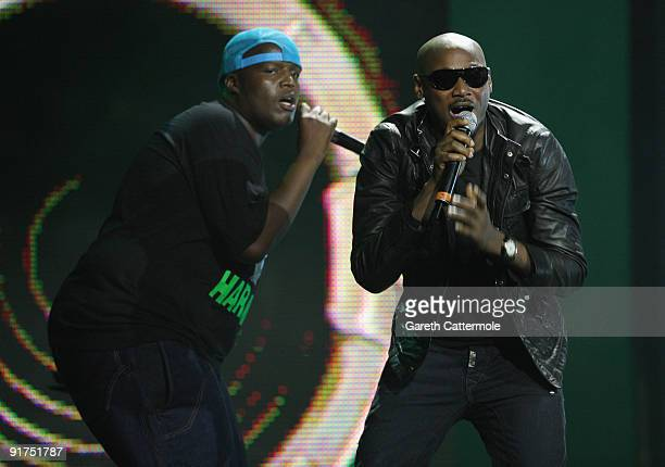 HHP and 2Face perform on stage at the MTV Africa Music Awards with Zain at the Moi International Sports Centre on October 10 2009 in Nairobi Kenya