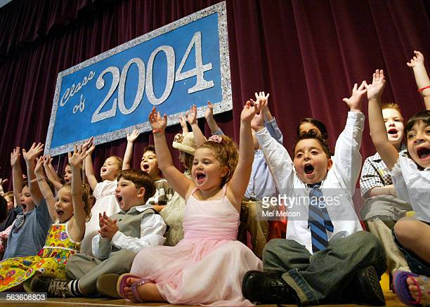 4 and 5 year old pre–school students at Valley Cities Jewish Community Center in Sherman Oaks sing a song during graduation ceremony on Friday...