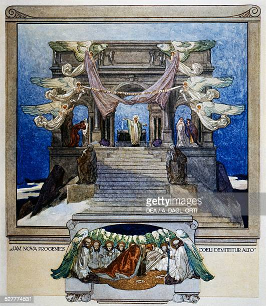 And a new progeny descends from heaven, Purgatory, canto XXII, the Divine Comedy of Dante Alighieri, illustration by Franz von Bayros , Vienna, 1921.
