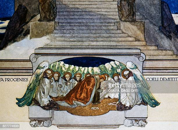 And a new progeny descends from heaven, Purgatory, canto XXII, the Divine Comedy of Dante Alighieri, illustration by Franz von Bayros , Vienna, 1921....