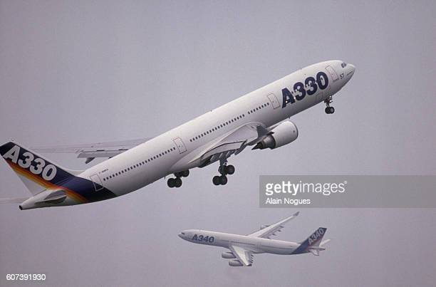 A340 and A330 Airbuses Flying