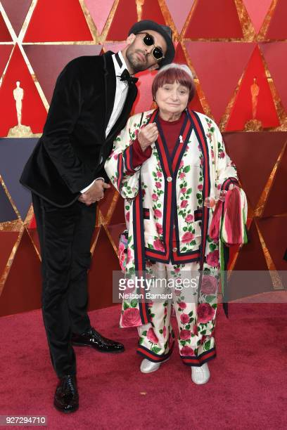 and Agnes Varda attend the 90th Annual Academy Awards at Hollywood Highland Center on March 4 2018 in Hollywood California