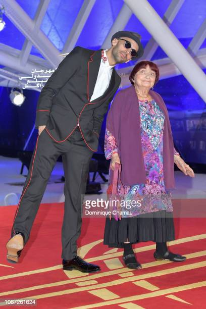 JR and Agnes Varda attend the tribute to Robert De Niro during the 17th Marrakech International Film Festival on December 1 2018 in Marrakech Morocco