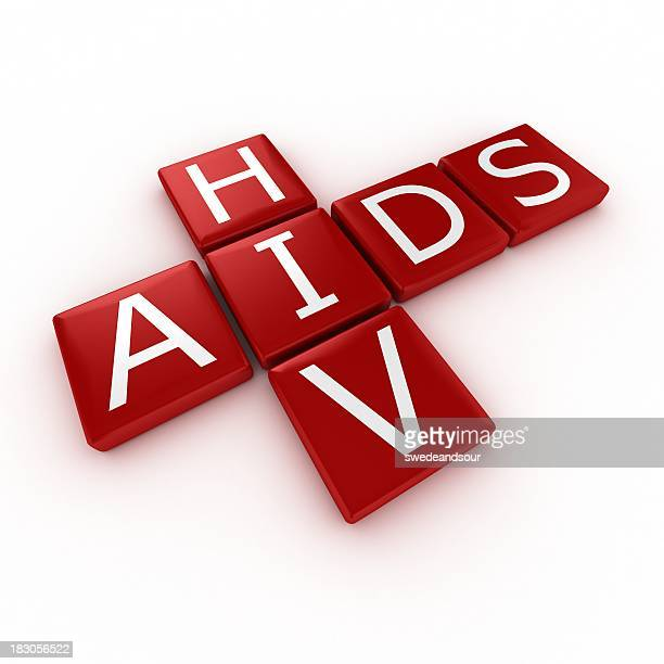 HIV and AIDS spelled out in red blocks
