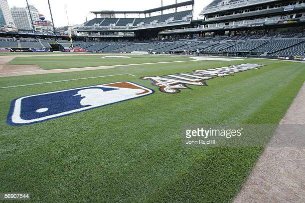 MLB and AllStar Game logos are pictured on the field during the Major League Baseball AllStar Weekend on July 9 2005 at Comerica Park in Detroit...
