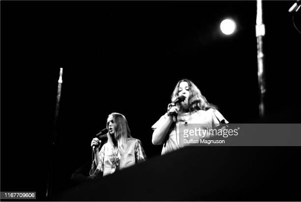 M and ama Cass Elliot Michelle Phillips the 'Mamas' of the band The Mamas The Papas singing as they performed at the Monterey International Pop...