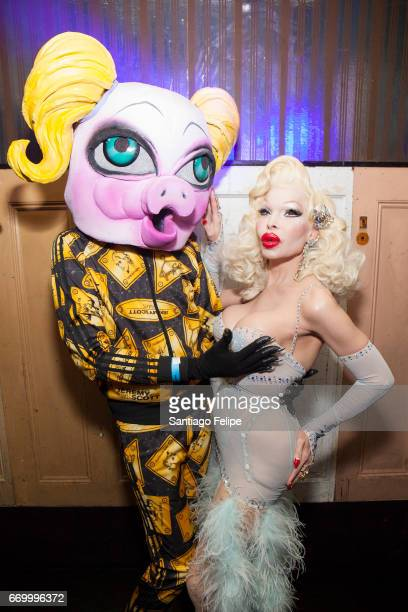 QWERRRK and Amanda Lepore attend Lady Fag's 1 year anniversary at Flash Factory on April 16 2017 in New York City
