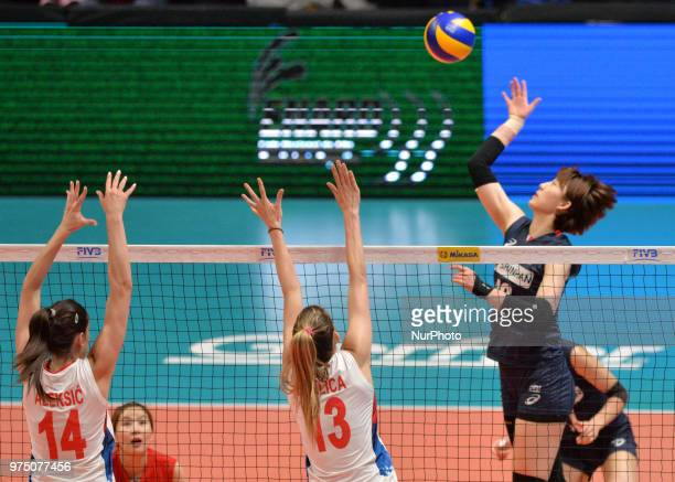 and ANA BJELICA of Serbia in action during FIVB Volleyball Nations League match between Korea and Serbia at the Stadium of the Technological...