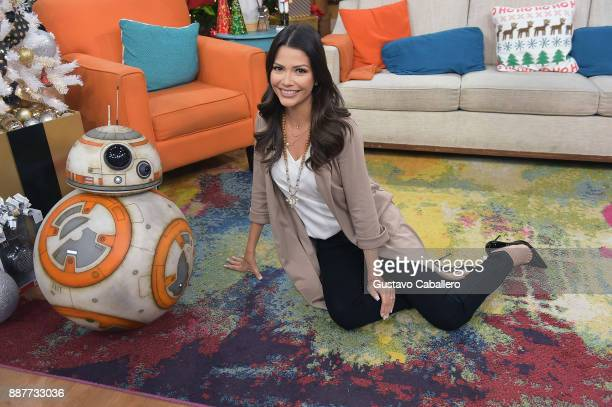 BB8 and Ana Patricia Gamez are seen on the set of 'Despierta America' to promote the movie Star Wars The Last Jedi at Univision Studios on December 7...