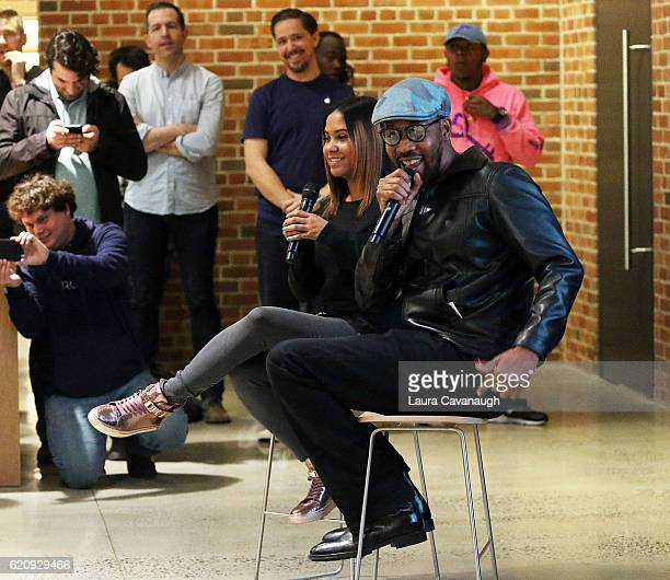 RZA and Angela Yee attend the Apple Store Williamsburg presents 'The Art of Beat Making with RZA ROLI' at Apple Store Williamsburg on November 3 2016...