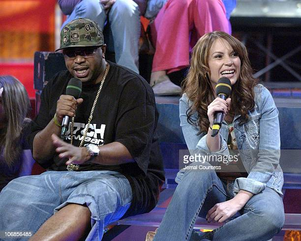 E and Angie Martinez during NORE Angie Martinez and Halifax visit FUSE's Daily Download April 11 2005 at FUSE Studios in New York City New York...