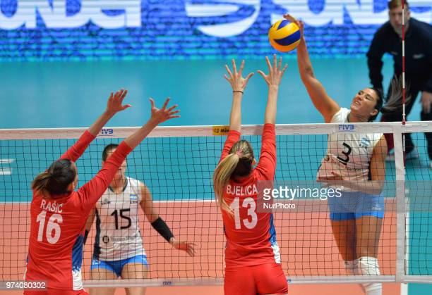 and ANTONELA FORTUNA of Argentina against MILENA RASIC and Ana Bjelica of Serbia during FIVB Volleyball Nations League match between Argentina and...
