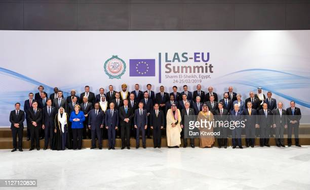 EU and Arab league leaders including German Chancellor Angela Merkel UK Prime Minister Theresa May President of the European Council Donald Tusk...