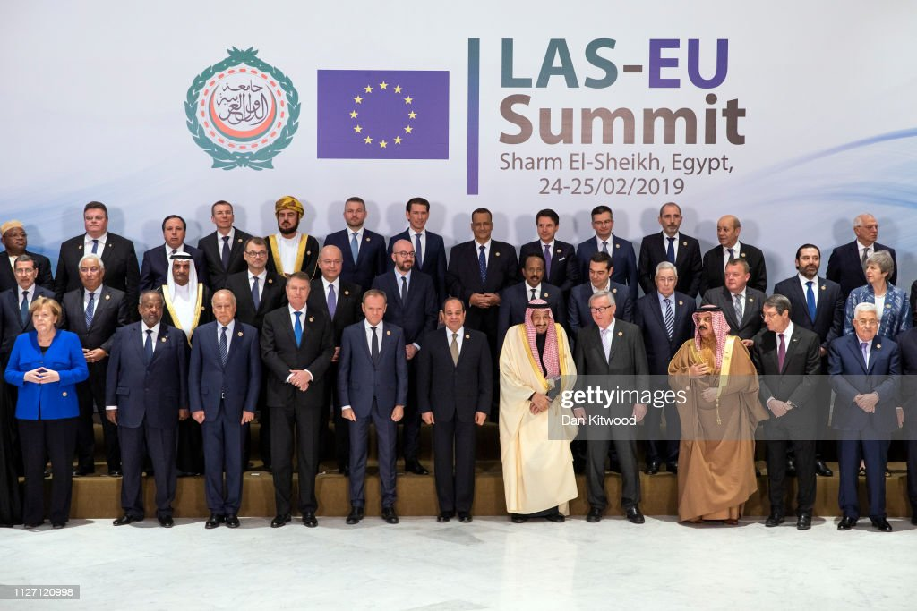 Theresa May Attends The First Arab-European Summit - Day One : News Photo