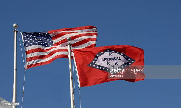 U.S. and Arkansas Flags
