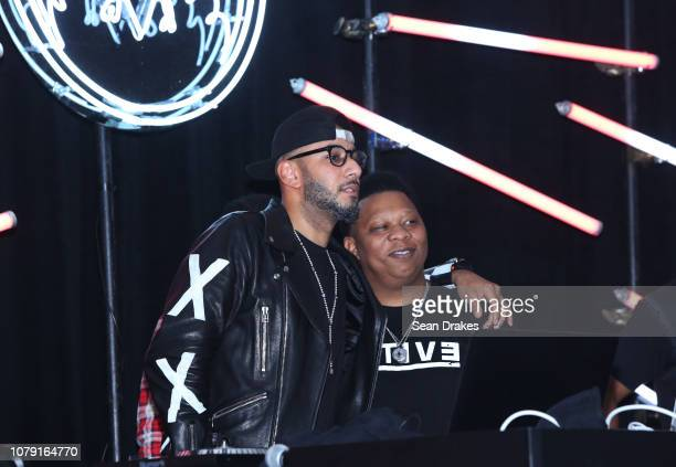 DJ and art collector Swizz Beatz poses on stage with American rapper Mannie Fresh at Bacardi No Commission Marquee Performance hosted by The Dean...