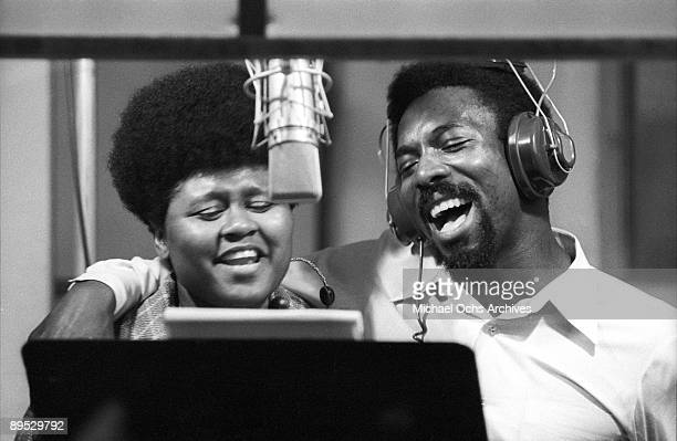 R and B and Soul singers Wilson Pickett and Jackie Moore record at the Muscle Shoals Sound Studio on November 24 1969 in Sheffield Alabama