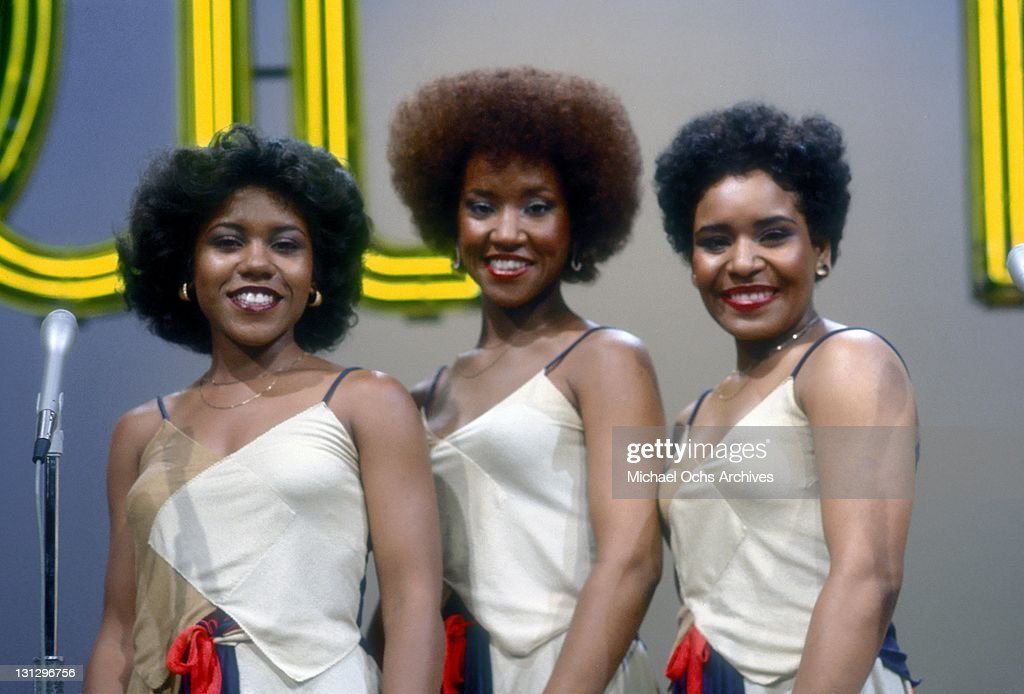 R and B group The Emotions (L-R Pamela Hutchinson, Wanda Hutchinson and Sheila Hutchinson) pose for a portrait on the set of the TV show 'Soul Train' in August 1977 in Los Angeles, California.