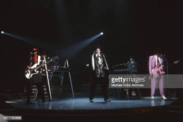 R and B group the Time Terry Lewis Jimmy Jam Morris Day Monte Moir and Jesse Johnson perform on American Bandstand in January 1983 in Los Angeles...
