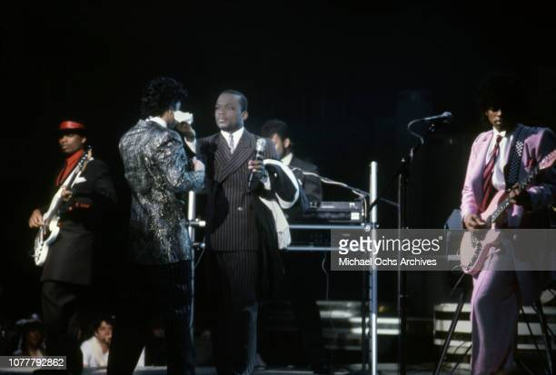 R and B group the Time Terry Lewis Morris Day Jerome Benton Jimmy Jam and Jesse Johnson perform on American Bandstand in January 1983 in Los Angeles...