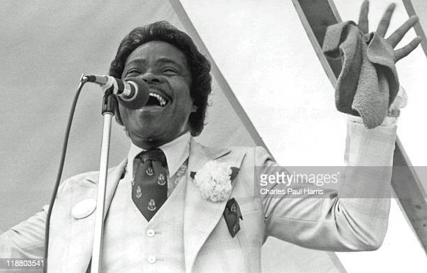 And B singer Ernie K-Doe performs live at the New Orleans JazzFest in April 1982 in New Orleans, Loisiana.