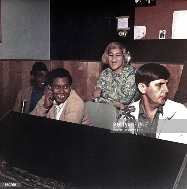 R and B singer Etta and studio owner Rick Hall recording at Fame Studios circa 1967 in Muscle Shoals Alabama