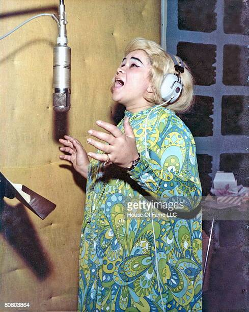 R and B singer Etta James recording at Fame Studios circa 1967 in Muscle Shoals Alabama