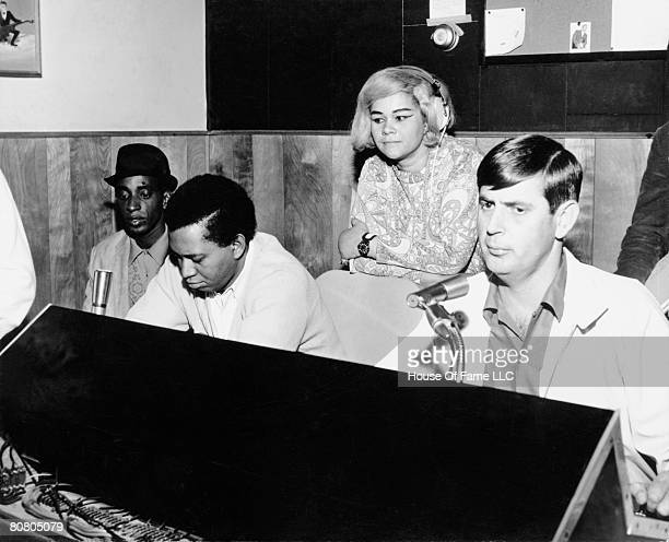 R and B singer Etta James recording at Fame Studios with Rick Hall and members of the house band in circa 1967 in Muscle Shoals Alabama