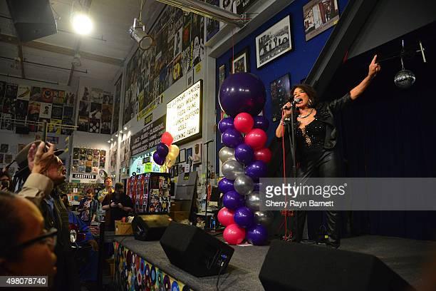 R and B singer Freda Payne performs at Amoeba Records on November 18 2015 in Los Angeles California