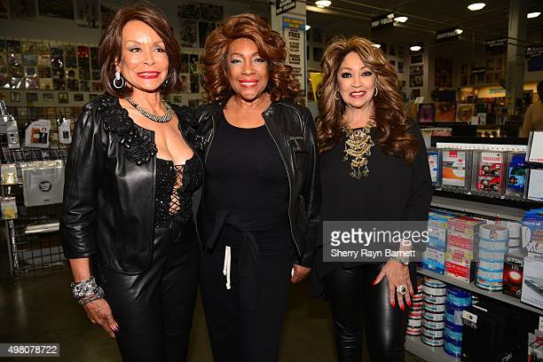 R and B singers Freda Payne Mary Wilson and Linda Clifford pose for a photo at Amoeba Records on November 18 2015 in Los Angeles California
