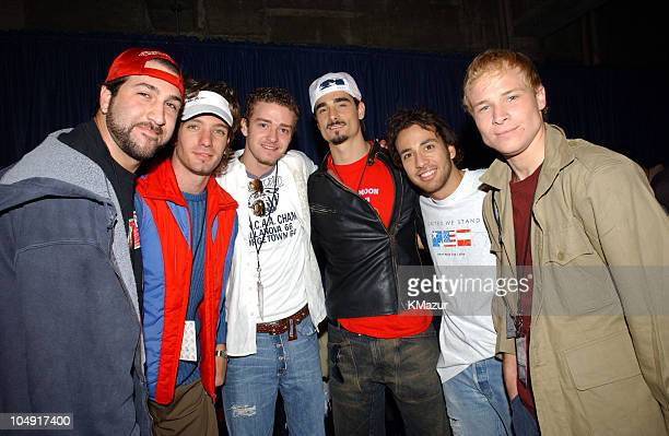 *NSYNC and Backstreet Boys during United We Stand Concert Backstage at RFK Stadium in Washington DC United States