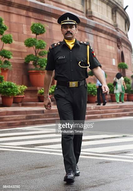 MP and BCCI President Anurag Thakur after getting commissioned in Territorial Army as Lieutenant on July 29 2016 in New Delhi India Taking a pledge...