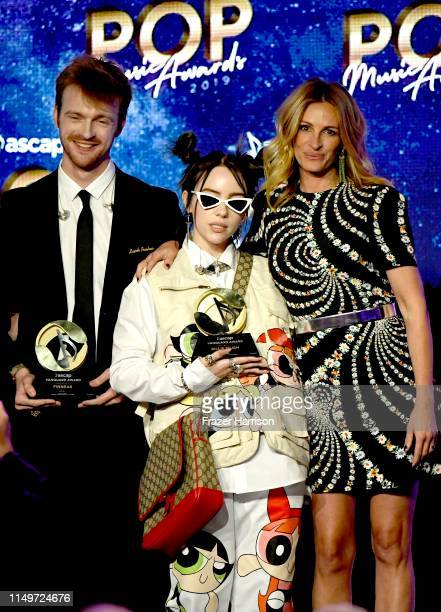 FINNEAS and Billie Eilish accept the Vanguard Award from Julia Roberts onstage 36th Annual ASCAP Pop Music Awards at The Beverly Hilton Hotel on May...