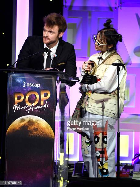 FINNEAS and Billie Eilish accept the Vanguard Award onstage during the 36th annual ASCAP Pop Music Awards at The Beverly Hilton Hotel on May 16 2019...