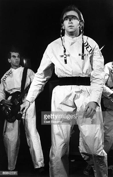 UNITED STATES NOVEMBER 14 MAX'S KANSAS CITY DEVO and Bob MOTHERSBAUGH and Gerald CASALE LR Bob Mothersbaugh and Gerald Casale performing on stage