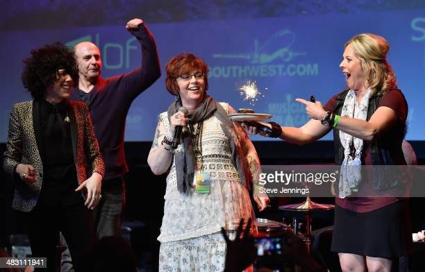 LP and Bobbii Jacobs surprise Claire Parr on her birthday on Day 3 of 'Live In The Vineyard' on April 5 2014 in Napa California
